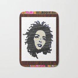 Lauryn Hill vintage fabric & wood grain patterned collage Bath Mat