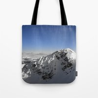 terminator Tote Bags featuring Terminator Peak by Joe-LynnDesign