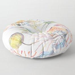 Nautilus and Lotus Surreal Watercolor Sea Animal Botanical Design Floor Pillow
