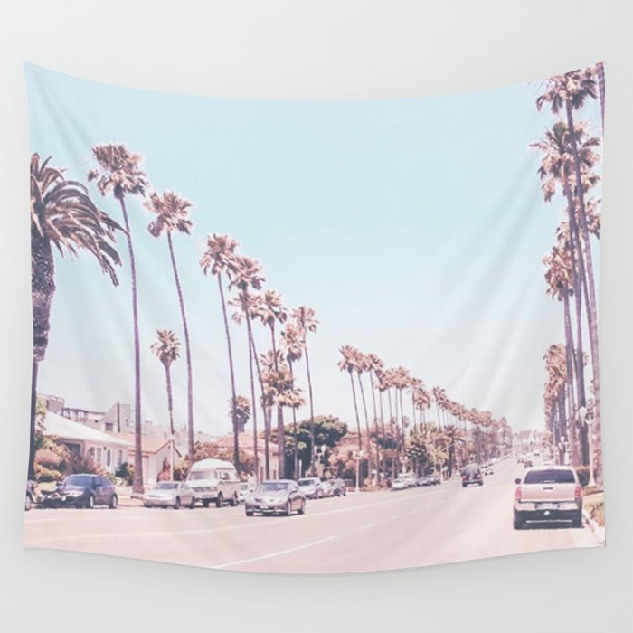 california-sidewalks-__-blue-ocean-skyline-roadside-palm-trees-tropical-hollywood-paradise-wall-tapestry by society6
