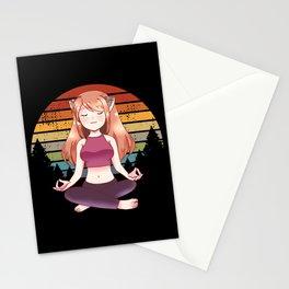 Yoga Meditation Yoga Anime Girl Namaste Gift Stationery Cards