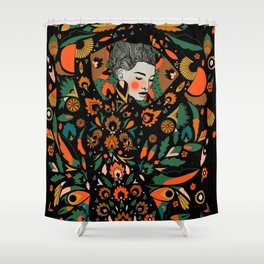 Black Velvet and Clementine Shower Curtain