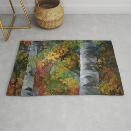 Birch Trees Painting Rug
