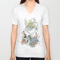 ghibli V-neck T-shirts featuring Ghibli by Alba Palacio