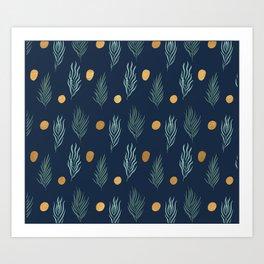 Gold dot and deep blue leaf pattern Art Print