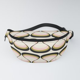 Olive Green, Pink, and Black Retro Wavy Line Pattern Fanny Pack