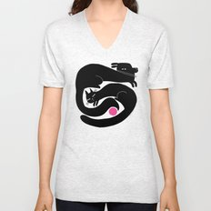YIN YANG WITH PINK BALL Unisex V-Neck