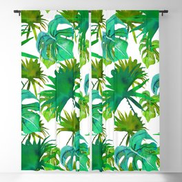 Abstract hand painted forest green watercolor tropical leaves Blackout Curtain