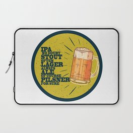 Beer always, vintage poster, circle, yellow Laptop Sleeve