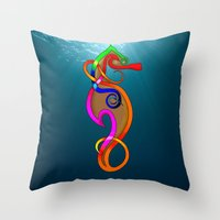 psychadelic Throw Pillows featuring Psychadelic Seahorse Knot by Knot Your World