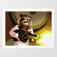 rocket racoon Art Prints featuring Rocket Racoon by mikekimart