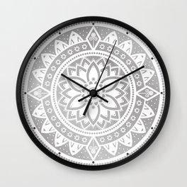 Silver & White Patterned Flower Mandala Wall Clock