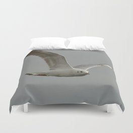 Seagull In Flight Against Gray Sky Vector Duvet Cover