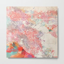 Anaheim map California painting square 1 Metal Print