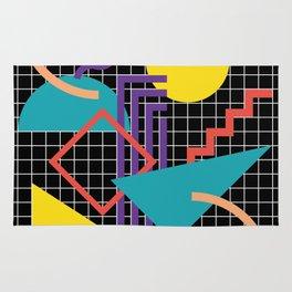 Memphis Pattern - 80s Retro Black Rug