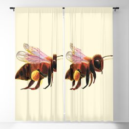 Honey Bee with Pollen Baskets Illustration Blackout Curtain