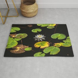 Water Lilies II - Lilly Pad Flower Nature Photography Rug