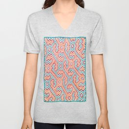 Song to Bring Vision & Insight - Traditional Shipibo Art - Indigenous Ayahuasca Patterns Unisex V-Neck