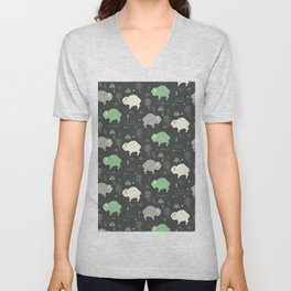 Seamless pattern with cute baby buffaloes and native American symbols, dark gray Unisex V-Neck