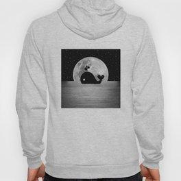 Whale Night Swim - Black and White Hoody