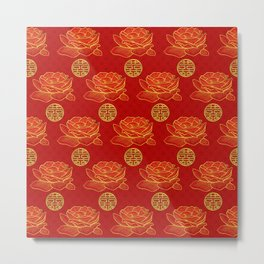 Peonies and Gold Double Happiness Symbol Pattern Metal Print