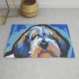 Fun PBGV Petit Basset Griffon Vendéen Dog bright colorful Pop Art Rug
