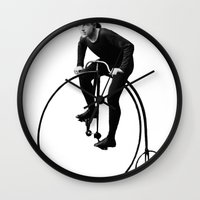 pushing daisies Wall Clocks featuring Keep Pushing by William Michael