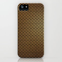 Contemporary Black and Gold Herringbone Pattern iPhone Case