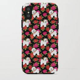 Bichon Frise dogs red rose floral for dog lovers iPhone Case