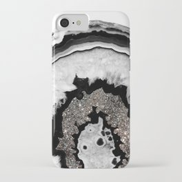 Gray Black White Agate with Silver Glitter #1 #gem #decor #art #society6 iPhone Case
