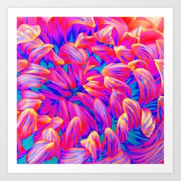 Pop Art Inspired Flower - Pink Blue Art Print