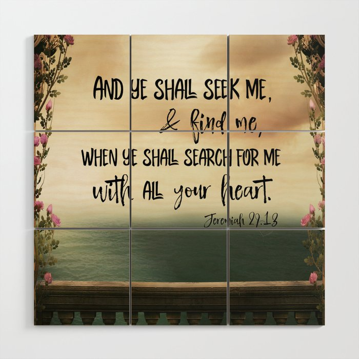 Seek God With Your Whole Heart Kjv Bible Verse Wood Wall Art By Quotelifeshop