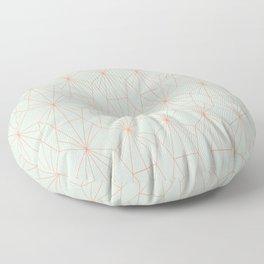 Geometry art decó in blue and orange Floor Pillow