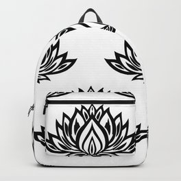 Black and White Lotus Pattern Backpack