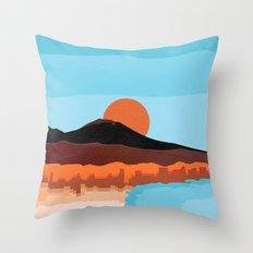 Landscape of Naples with volcano Vesuvio Throw Pillow