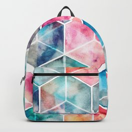 Translucent Watercolor Hexagon Cubes Backpack