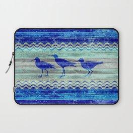 Rustic Navy Blue Coastal Decor Sandpipers Laptop Sleeve