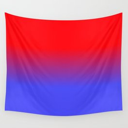 Neon Red and Bright Neon Blue Ombre Shade Color Fade Wall Tapestry