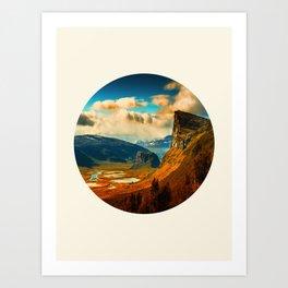 Orange Cliff Blue Sky Art Print