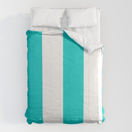 Wide Vertical Stripes - White and Cyan Comforters