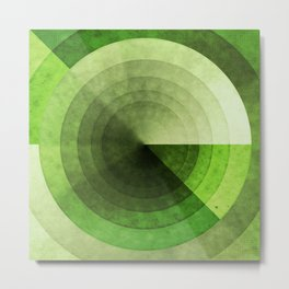 Green Grunge Circles Metal Print