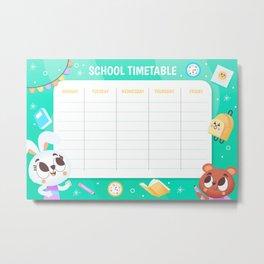 School timetable 1 Metal Print