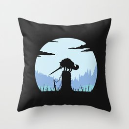 Grey Wolf Sif (Dark Souls) - in black Throw Pillow