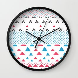 Watercolor hand painted pink blue black tribal geometrical Wall Clock