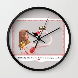 Alice and her Flamingo's mustache Wall Clock