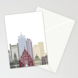 Boston skyline poster Stationery Cards