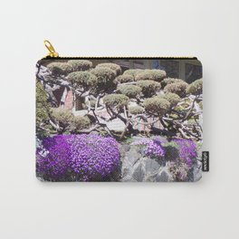 Rock Retaining Wall With Beautiful Trees and Purple Flowers Carry-All Pouch