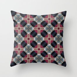Magenta, Teal, and Navy Blue  Geometric Floral Pattern Throw Pillow