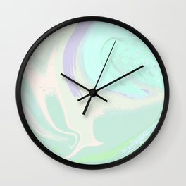 Violet Mint Marble. Digital Suminagashi Liquid Color Abstraction Wall Clock