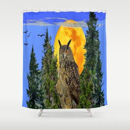OWL WITH FULL MOON & TREES NATURE BLUE DESIGN Shower Curtain